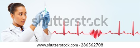 healthcare, vaccination, anesthesia and medical concept - african american female doctor holding syringe with injection over red heart shape and cardiogram - stock photo