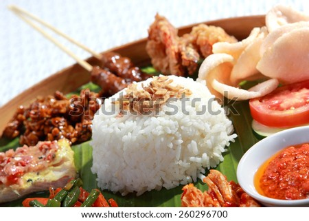 healthy and delicious indonesian food for lunch - stock photo