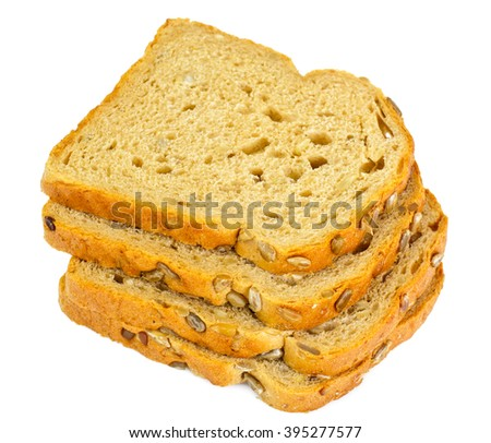 Healthy and diet food: rye bread with sunflower seeds. Studio Photo