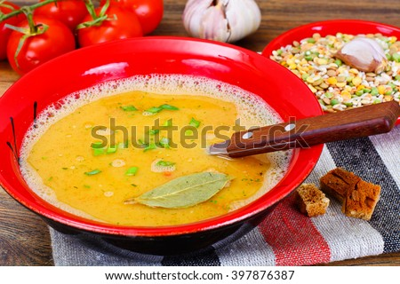 Healthy and Diet Food: Soup with Lentils, Celery. Studio Photo
