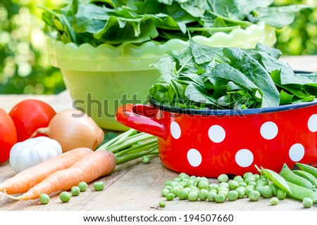 Healthy and fresh organic food (vegetables) - stock photo