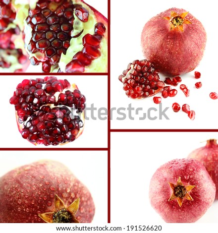 Healthy and organic food, Set of fresh Ripe pomegranate.
