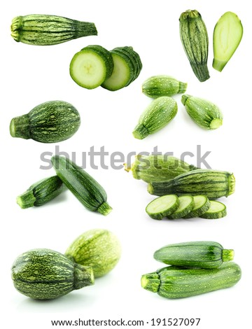 Healthy and organic food, Set of fresh zucchini or marrow.