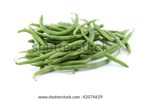Healthy and organic green string beans on a white background (not isolated)