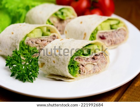 Healthy appetizer plate: tuna wraps with avocado, cucumber and lettuce leaf. Close up - stock photo