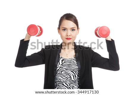 Healthy Asian business woman with dumbbells  isolated on white background - stock photo