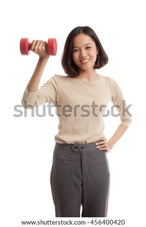 Healthy Asian business woman with dumbbells  isolated on white background