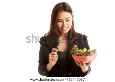 Healthy Asian business woman with salad  isolated on white background.