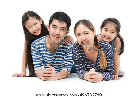 Healthy Asian family smiling and lying on isolated white background, Happy family