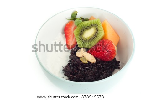 style breakfast porridge of black rice, also known as Forbidden Rice ...
