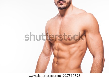 healthy atletic body with nice muscle on white backgound