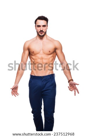 healthy atletic man, half nacked with muscle on white background - stock photo