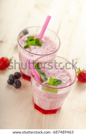 healthy berry smoothie in glass