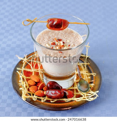 Healthy blended smoothie made from almond milk and dates - stock photo