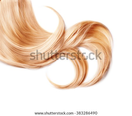 Healthy Blond Hair isolated on white. Curl of Dyed Blonde hair close up - stock photo