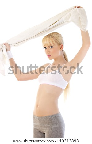 Healthy blonde woman over white