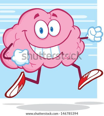 Healthy Brain Character Jogging. Vector version also available in gallery - stock photo