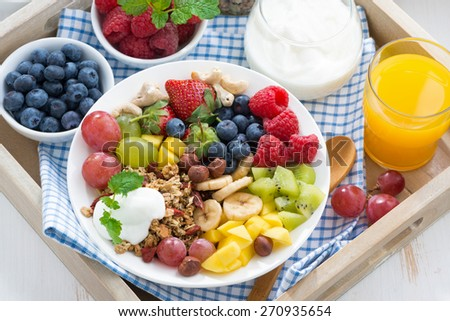 healthy breakfast - berries, fresh fruit and cereal, top view, horizontal - stock photo