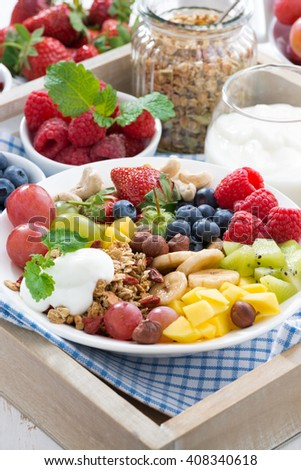 healthy breakfast - berries, fresh fruit and cereal, vertical, close-up - stock photo