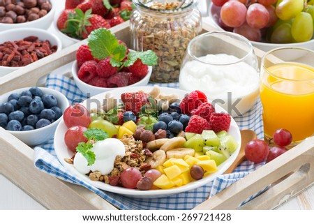 healthy breakfast - berries, fruit and cereal on the plate, horizontal - stock photo