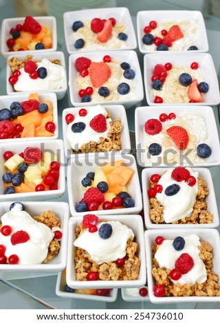 Healthy breakfast, cereals with a berries and yoghurt - stock photo