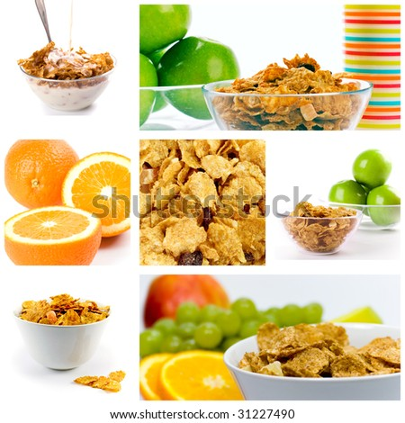 healthy breakfast: cornflakes with milk and fruit collection. - stock photo