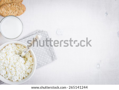 Healthy breakfast. Cottage cheese, grain cookies and milk