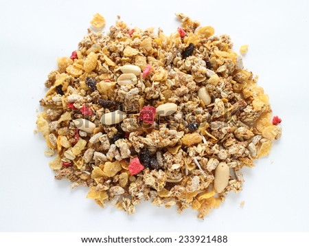 healthy breakfast, dried fruit and peanut Granola - stock photo