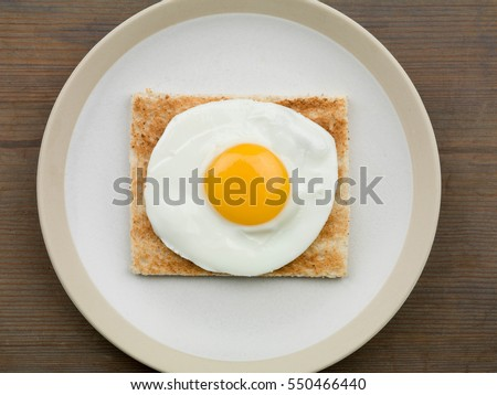 Healthy Breakfast Food or Snack of a Single Fried Egg on Toast