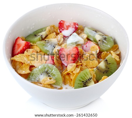 Healthy breakfast in bowl  isolate on white background