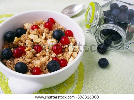 Healthy breakfast muesli with blueberry and red currant