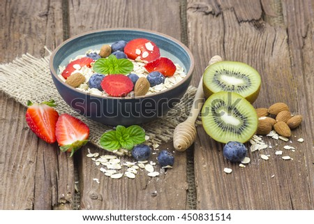 healthy breakfast - muesli with fruit and yogurt
