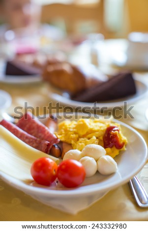 Healthy breakfast on the table close up in outdoor cafe - stock photo