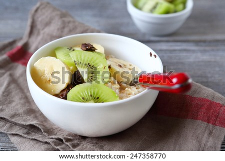 Healthy breakfast with chocolate and fruit, food - stock photo