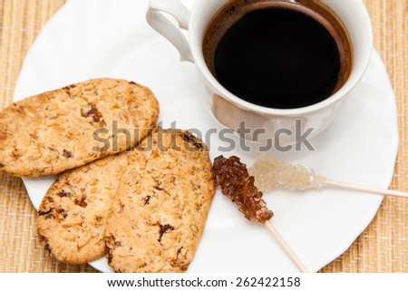 healthy breakfast with coffee and cereal biscuits