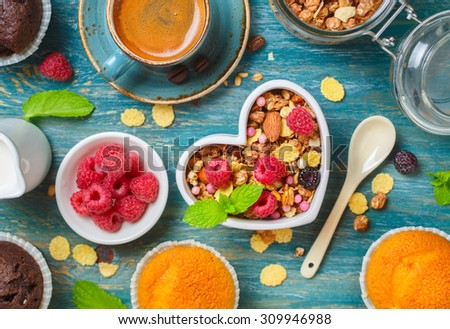 Healthy breakfast with granola close up.  Food background  - stock photo