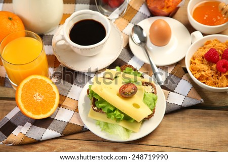 healthy breakfast with sandwich - stock photo