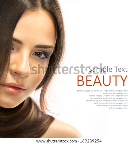 Healthy Brown Hair. Beauty Brunette Girl isolated on white background. - stock photo