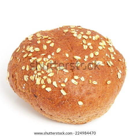 healthy brown home baked bun over white background
