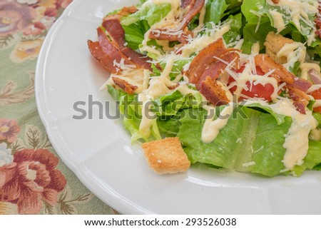 Healthy Caesar Salad with Cheese and Croutons. - stock photo