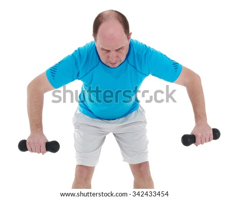 Healthy caucasian man with dumbbells working out on white background. Fitness gym concept. - stock photo
