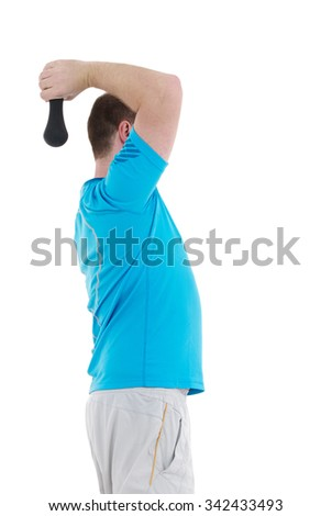 Healthy caucasian man with dumbbells working out on white background. Fitness gym concept.