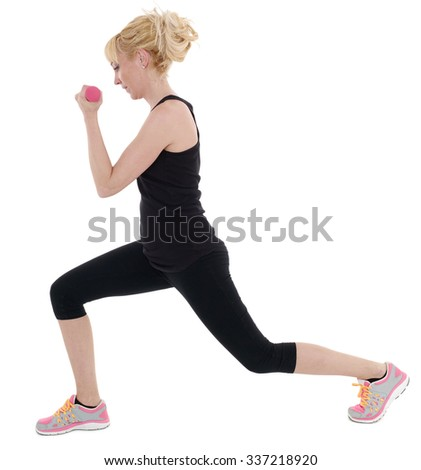 Healthy caucasian woman with dumbbells working out on white background. Fitness gym concept.