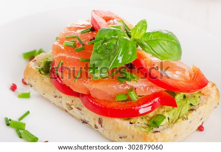 Healthy Cereal Sandwich with a salmon. Selective focus