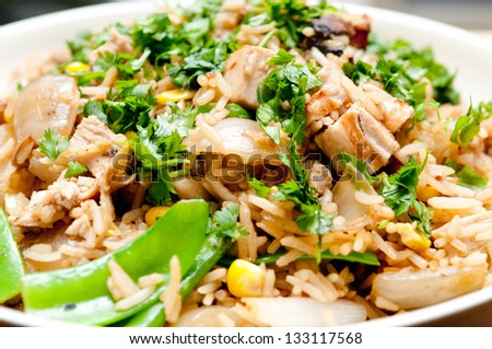 healthy chicken stir fry with bean sprouts, vegetables and gluten free broad noodles - stock photo
