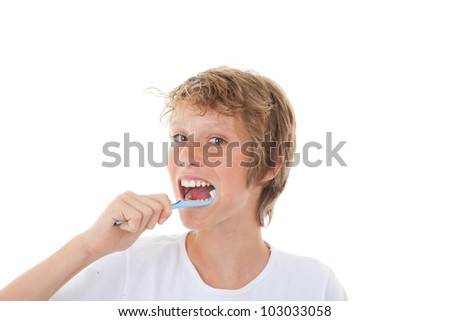 healthy child cleaning teeth with tooth brush - stock photo
