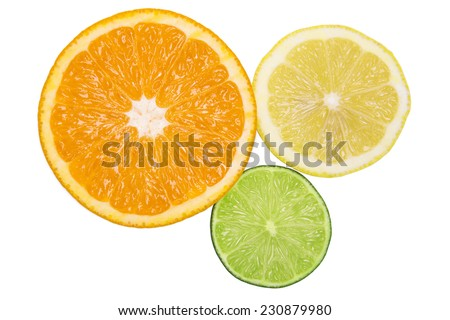 Healthy citrus fruity food. Slice of fresh orange, lemon, lime isolated on white background - stock photo