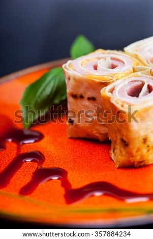 Healthy club sandwich pita bread roll with cheese,ham - stock photo