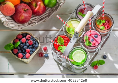 Healthy cocktail with fresh fruits - stock photo