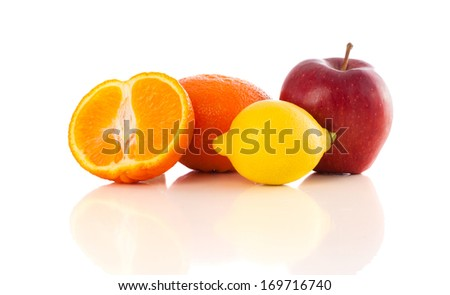 Healthy colorful tropical fresh fruits on white background
